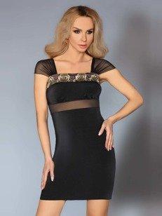 Amoria sukienka czarna – z efektownymi wzorami WYPRZEDAŻ